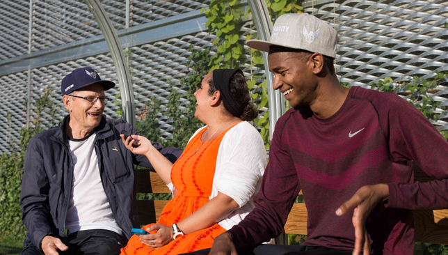 Fun crew: Barshim (r) and his coach Stanley share a laugh with Sport360's Reem Abulleil