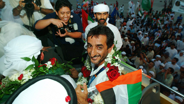 Sheikh Ahmad given a heroes welcome on his return to the UAE.