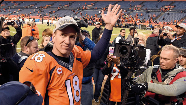 Peyton Manning won a second Super Bowl ring and a third for the Broncos in 2015.
