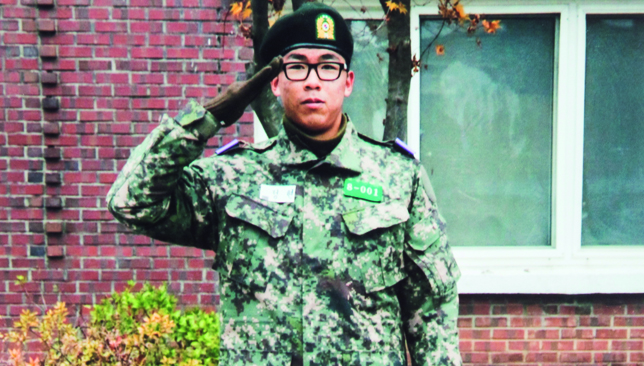 Serving his country: Chung on military duty.