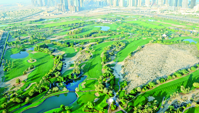 The pride of Dubai Golf: Majlis Golf Course and Faldo course from air.