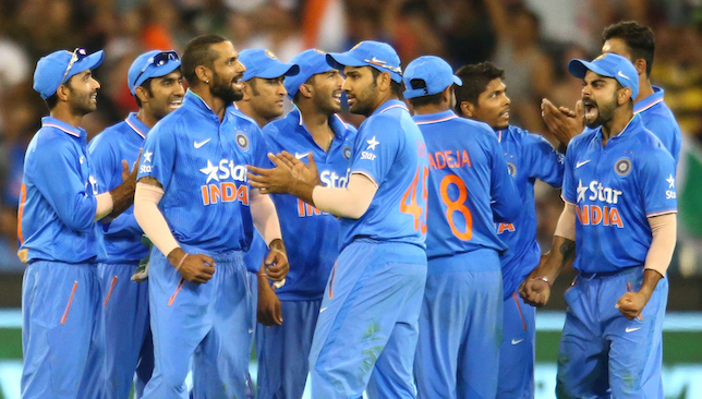 India celebrate during victory over Australia.