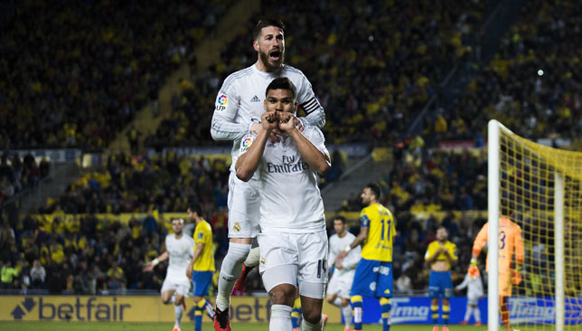 Casemiro (R) celebrates scoring their second goal with Sergio Ramos.