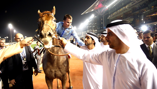 Prince Bishop, ridden by William Buick, won the 2015 Dubai World Cup.