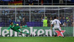 Decisive: Cristiano Ronaldo settles the Champions League from 12 yards.