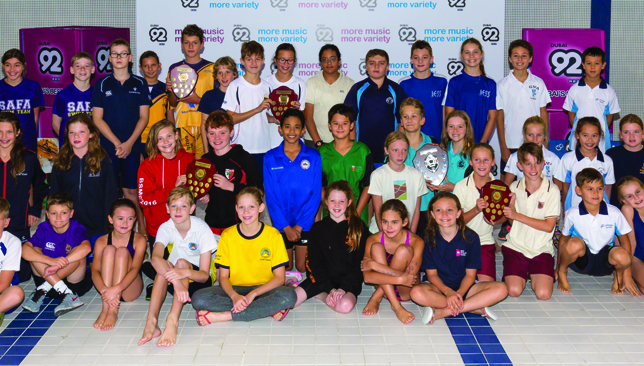 Captains of all the schools who took part in the Dubai Primary School's Swim League.