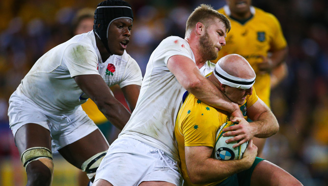 Maro Itoje and George Kruis in action against the Wallabies.