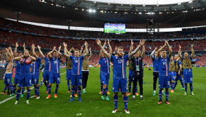 Iceland players celebrate victory over Austria.