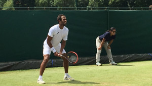 Egypt's Mohamed Safwat playing in Roehampton on Friday.