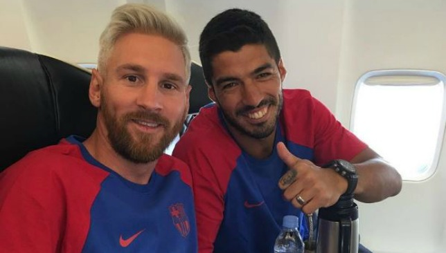 Messi and Suarez on their way to the UK via Suarez's Instagram.