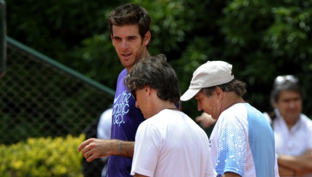Franco Davin (C) guided Del Potro to his 2009 triumph in New York.