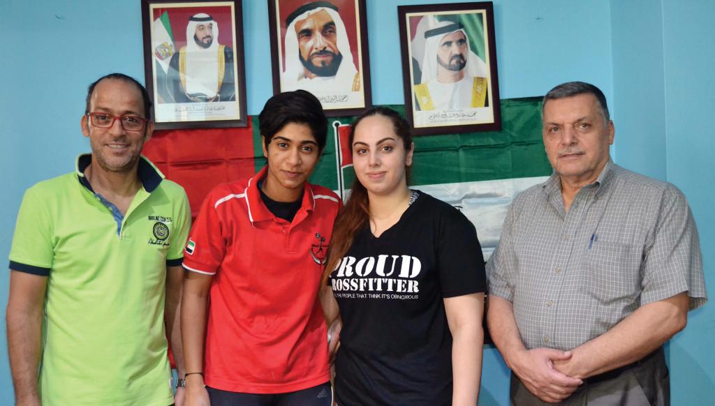 From left: Coach Ridha Ayachi, Al Balushi, team-mate Hamda Helali and EWF's Mohammed Ezoul.