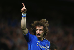 LONDON, ENGLAND - MAY 02:  David Luiz of Chelsea celebrates as he scores their third goal during the UEFA Europa League semi-final second leg match between Chelsea and FC Basel 1893 at Stamford Bridge on May 2, 2013 in London, England.  (Photo by Scott Heavey/Getty Images)