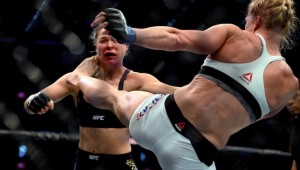 Kicked from the top: Holly Holm finished Ronda Rousey in the second round.