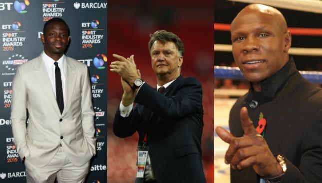 (L-R): Louis Saha, Louis van Gaal and Chris Eubank