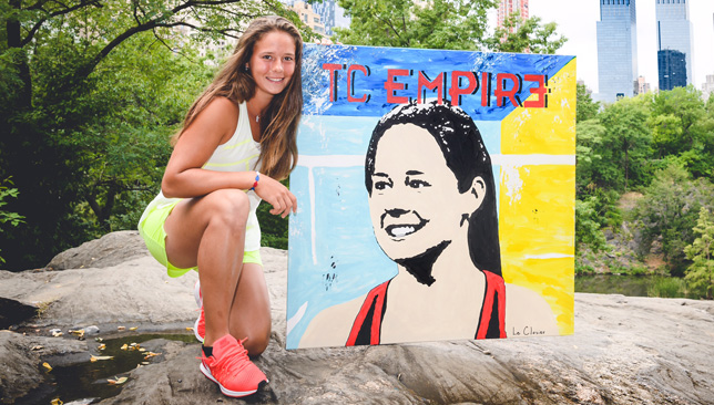 Kasatkina poses with her Le Closier portrait in New York.