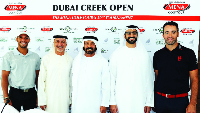 Smile of a half century: (From l) UAE pro Abdulla Al Musharrekh, Al Zarouni, Buamaim, Mustafa Al Hashimi and Zane Scotland on eve of Dubai Creek Open.