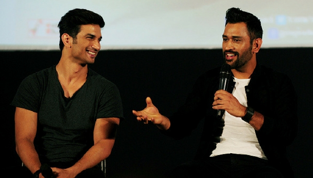 Sushant Singh Rajput and MS Dhoni promoting the film at a recent event