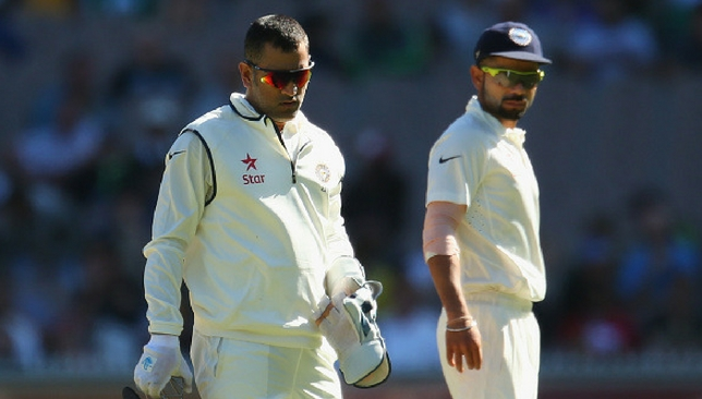 Dhoni and Kohli during the former's final Test match