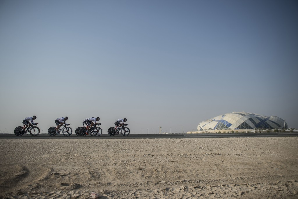 Skydive Dubai riders pedaling in Doha.