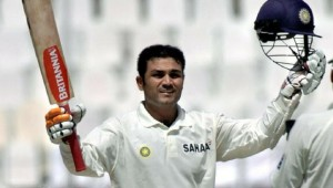 Sehwag celebrating after becoming the first Indian to hit a Test triple century