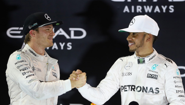 All's well in the end: Rosberg and Hamilton.