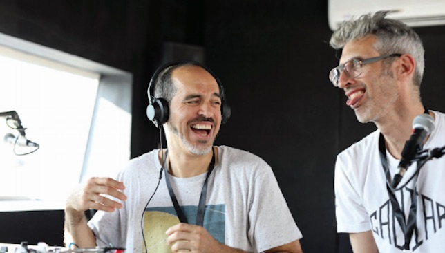 Kool Bob Love: Bobbito Garcia (r) and Stretch Armstrong grab the mic.