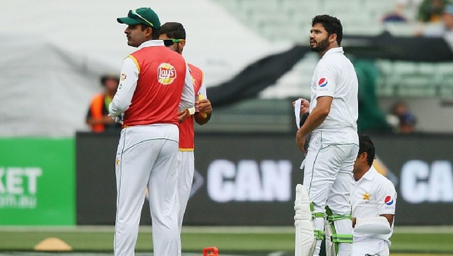 Azhar Ali is taken aback after he is initially given out.
