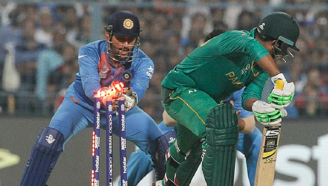 Dhoni attempts to stump Sharjeel during the World T20 match.
