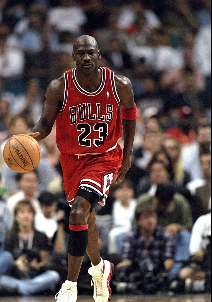 7 Jan 1998: Guard Michael Jordan of the Chicago Bulls in action against the Miami Heat during a game at the Miami Arena in Miami, Florida. The Heat defeated the Bulls 99-72. Mandatory Credit: Andy Lyons /Allsport