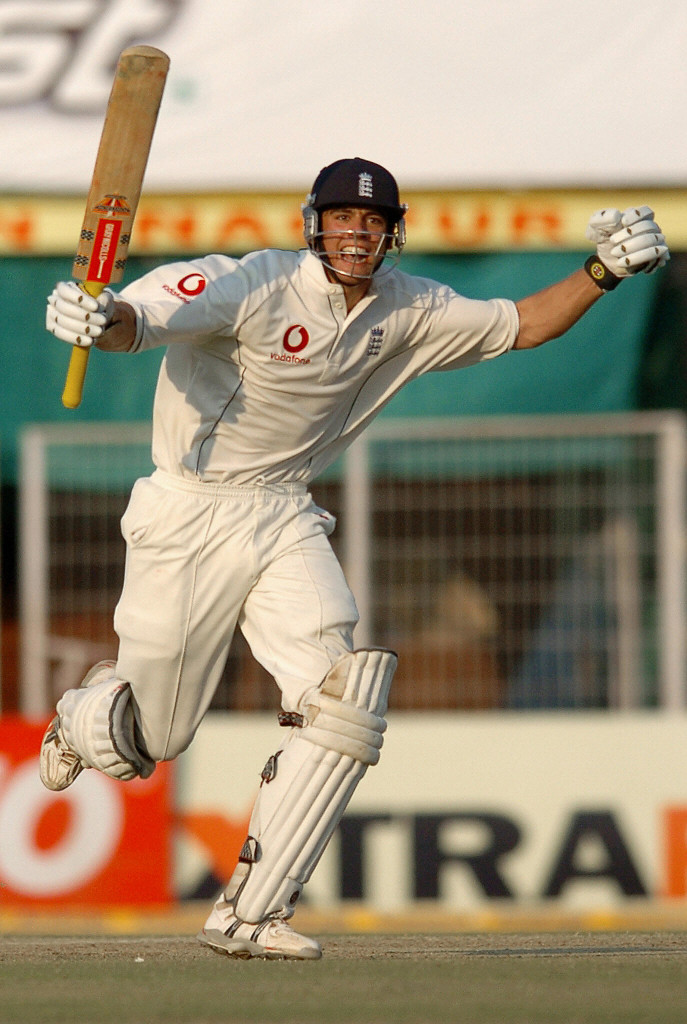 Alastair Cook celebrates after scoring his maiden century on Test match debut.