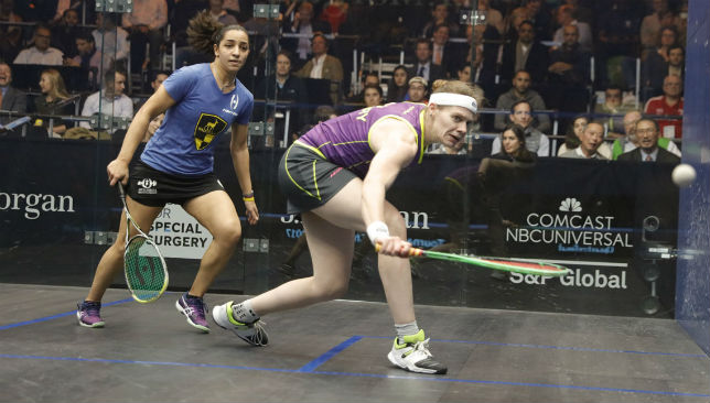 Perry in action against Raneem El Welily.