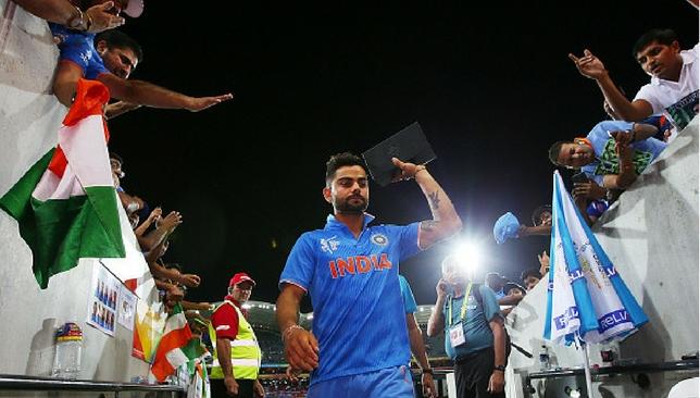 Kohli thanks the fans.