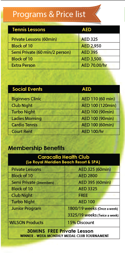 Where to play tennis in Dubai – full list and prices of courts