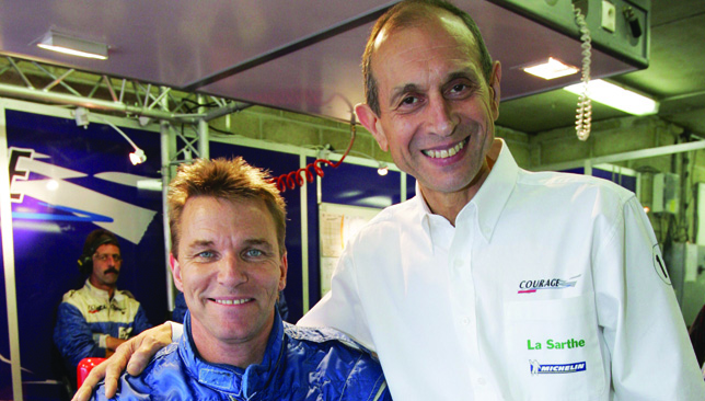 Stefan Johansson (L) and French manufacturer Yves Courage.