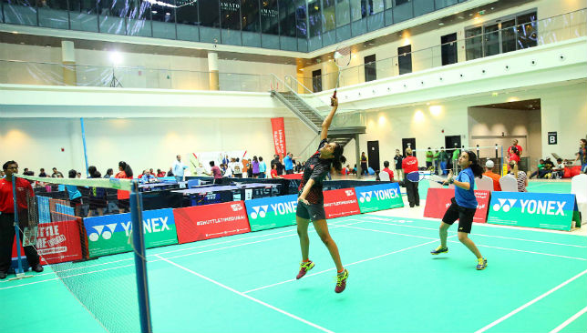 A Badminton match in progress