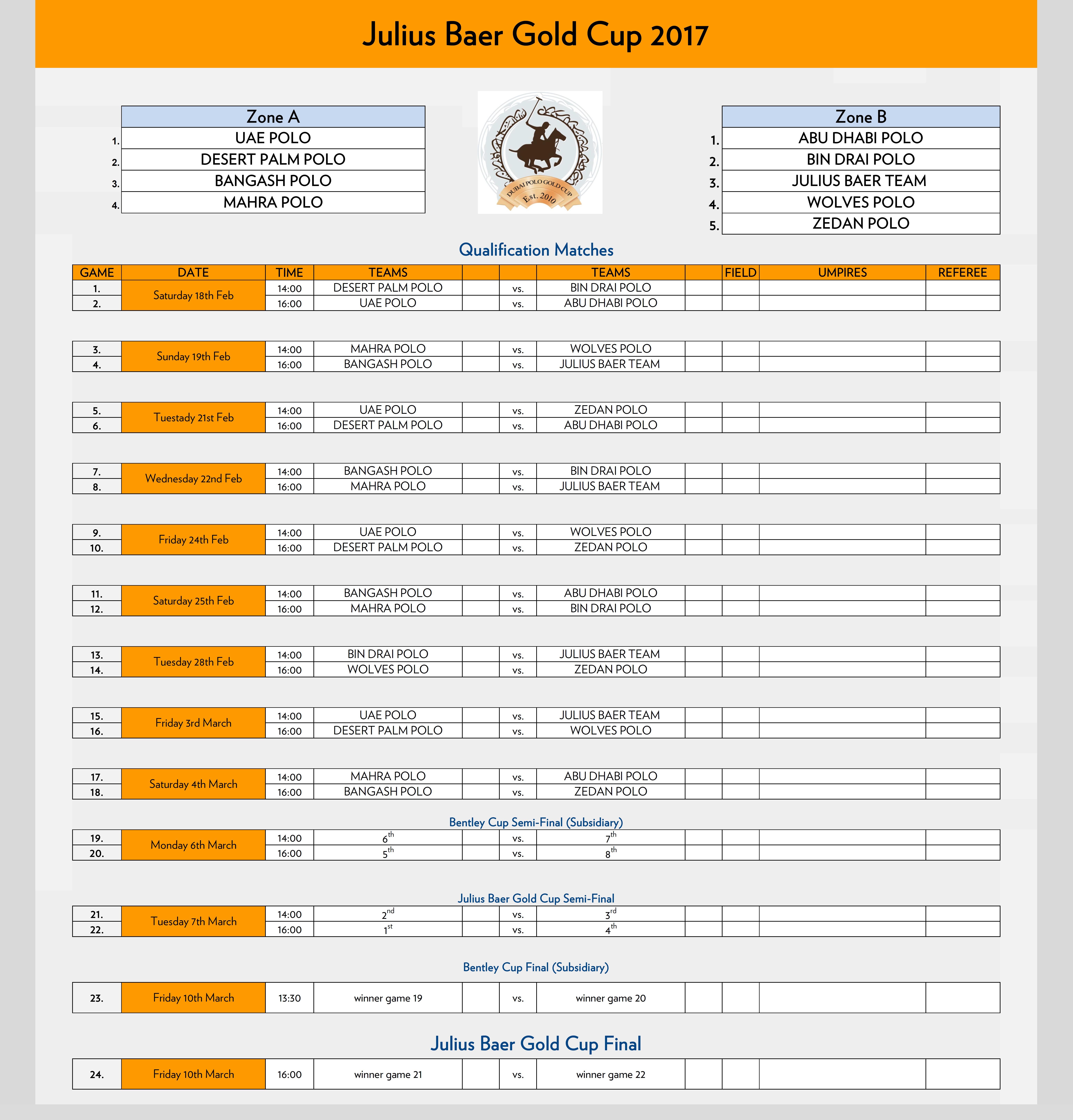 Julius Baer Gold Cup Fixtures.