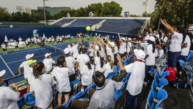 Hundreds of kids enjoyed a morning of tennis at the WTA J