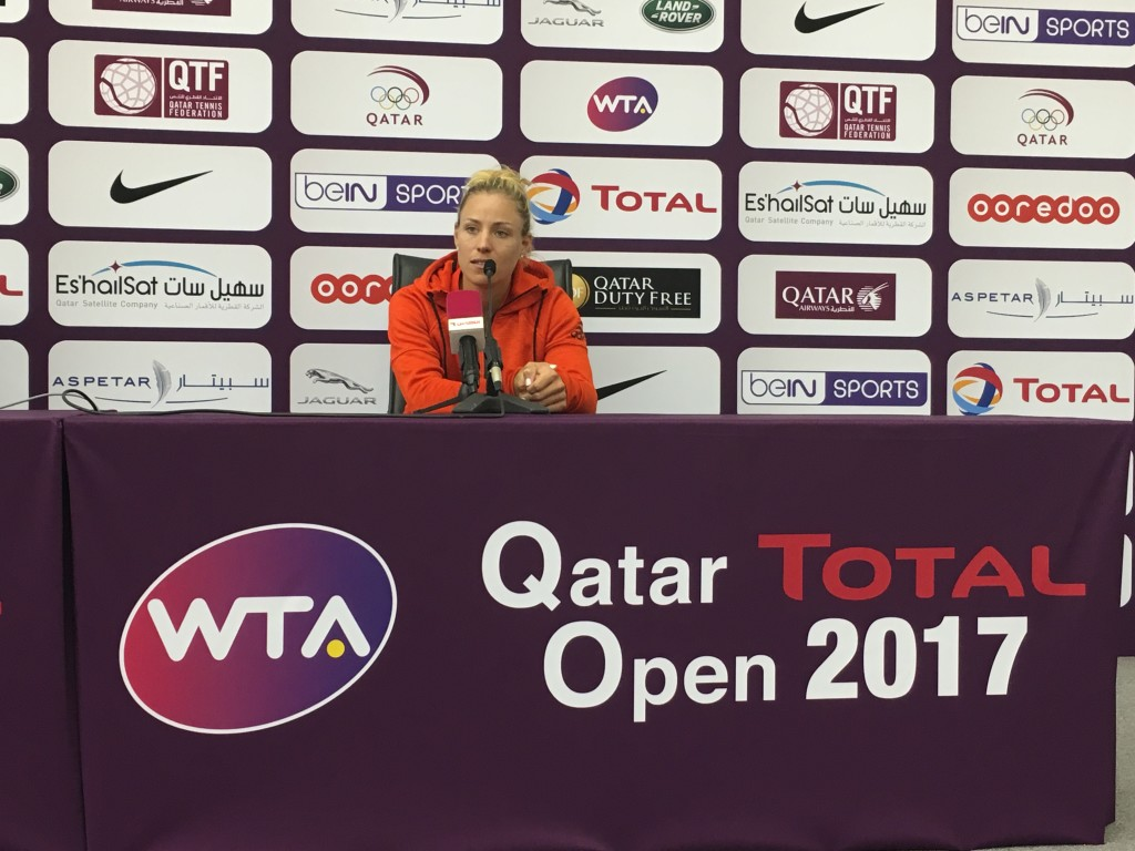 Kerber in Doha on Sunday (Credit: Reem Abulleil)