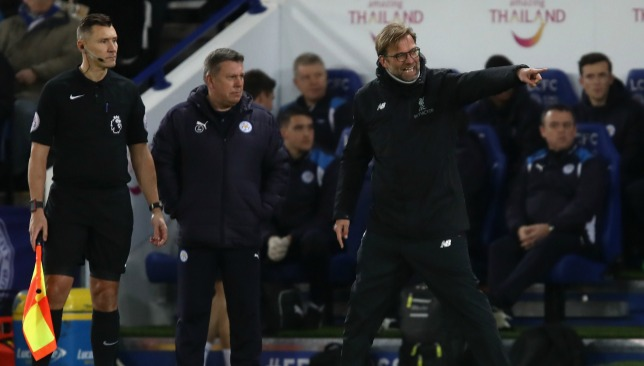 Klopp rages during the away defeat at Leicester.