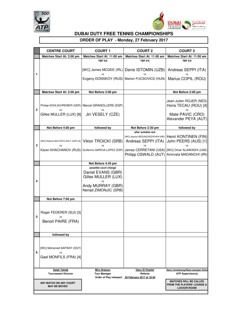 Monday's order of play.