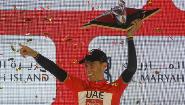 Rui Costa celebrates after winning the final Yas Island stage of the Abu Dhabi Tour.