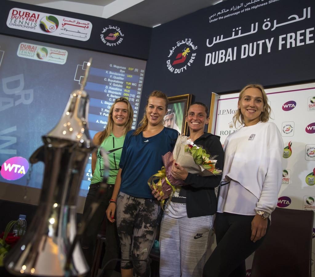 Vesnina, Vinci, Pavlyuchenkova and Svitolina at the draw on Saturday.