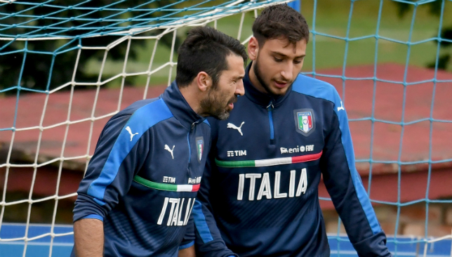 Gianluigi Buffon (L) with Gianluigi Donnarumma