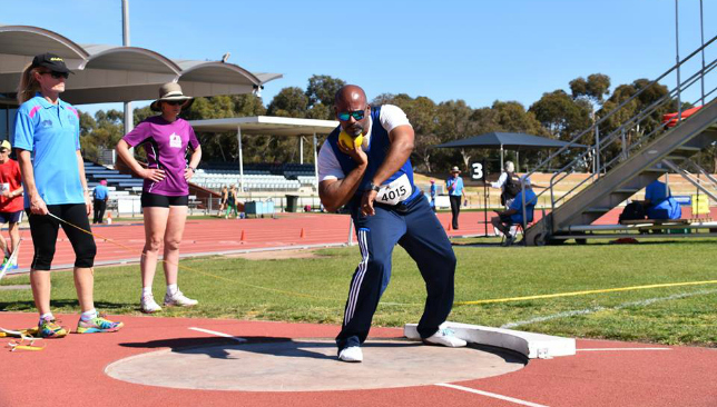 Shot to the heart: Shelton D'Costa unleashes a shot put throw.