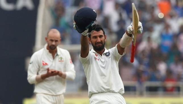 Pujara celebrates his double ton [Sportzpics]