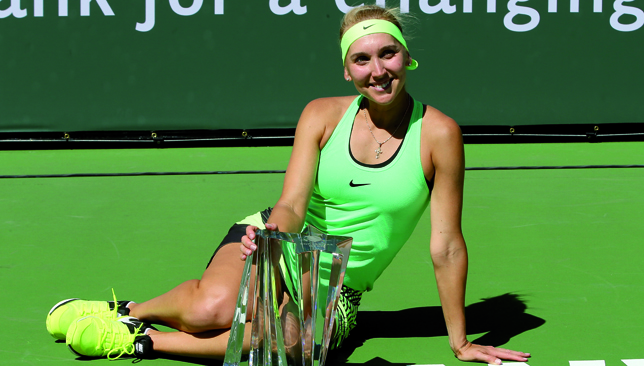 V for Vesnina: Elena Vesnina with her Indian Wells trophy.