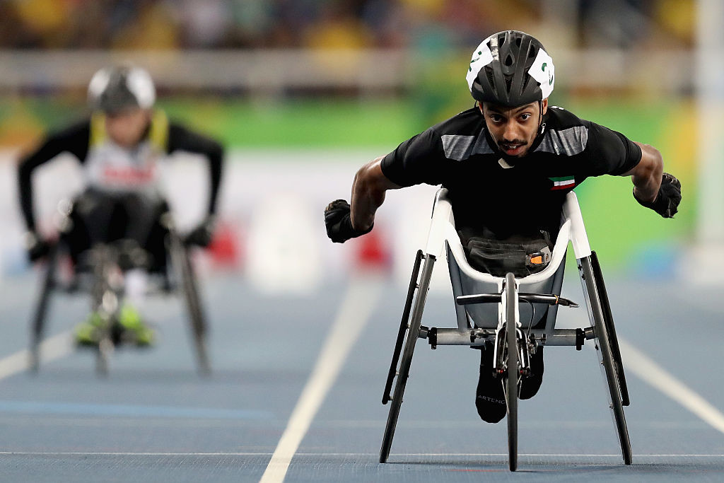 Kuwait's Al Mutairi competes in the men's 100m T33 final at the Rio Paralympics.