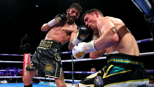 Jorge Linares plants a textbook upper-cut on Anthony Crolla in Manchester.