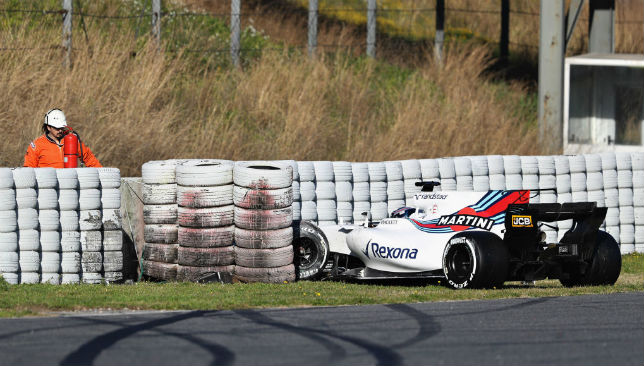 Williams' Lance Stroll crashed into a barrier during day three of the winter testing.